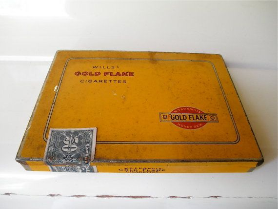 Wills Gold Flake Cigarette Flat 50 Cig Tin by PapillonArtBoutique, $40.00