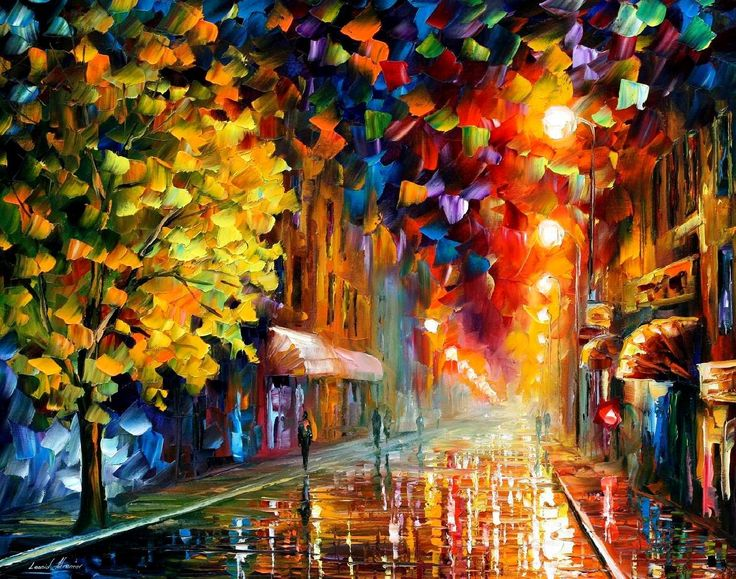 Happy Street PALETTE KNIFE Oil Painting On Canvas By AfremovArtStudio 23900 Art