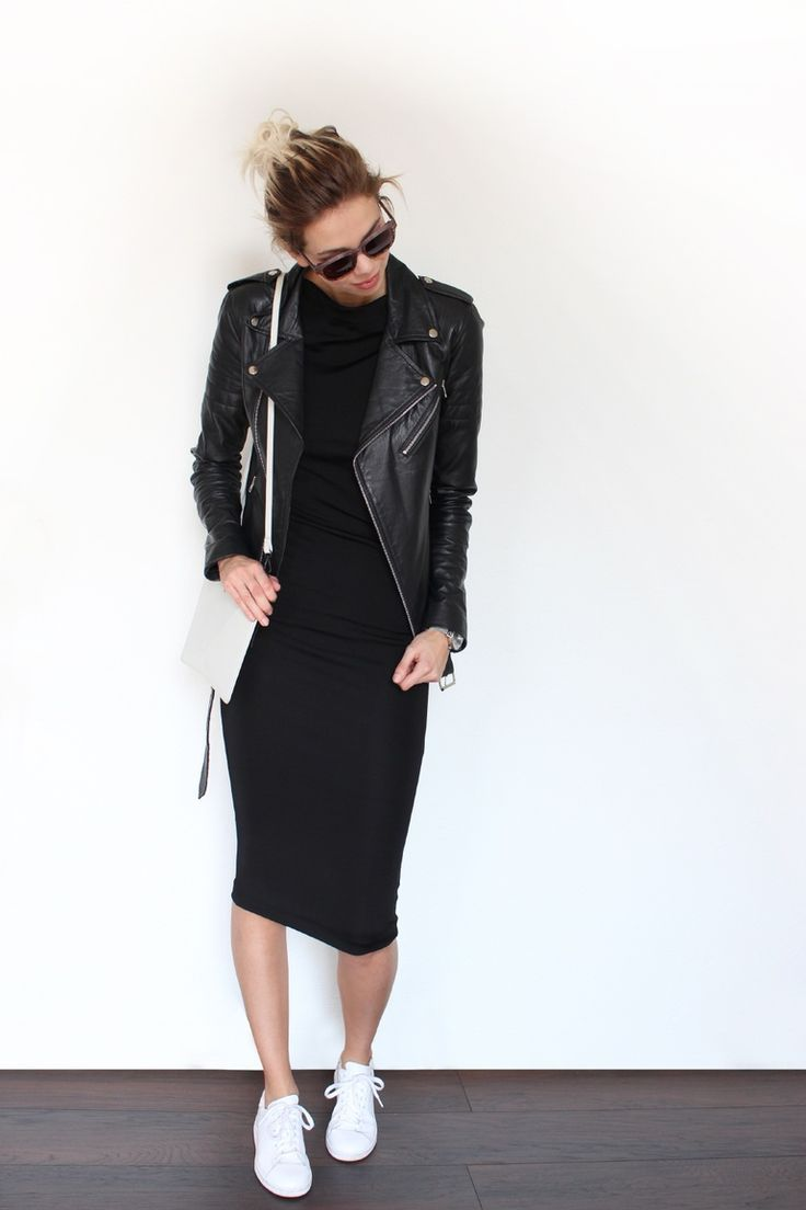 Solid Black midi-dress paired with a black leather moto-jacket.