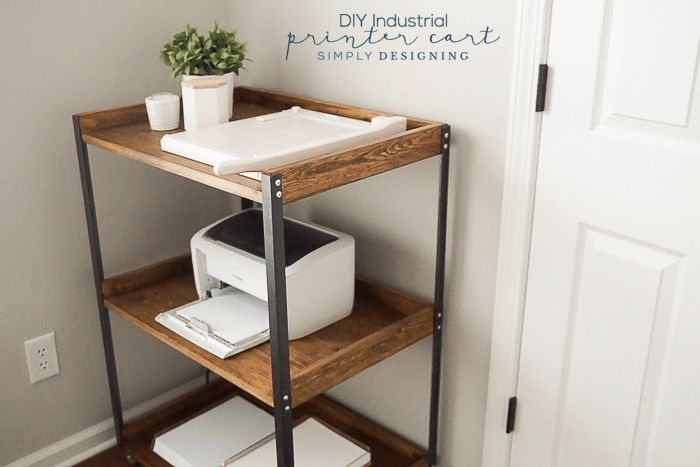 This Industrial DIY Printer Cart is a really functional and such a great addition to any craft room or office. And it is so easy to build yourself too!