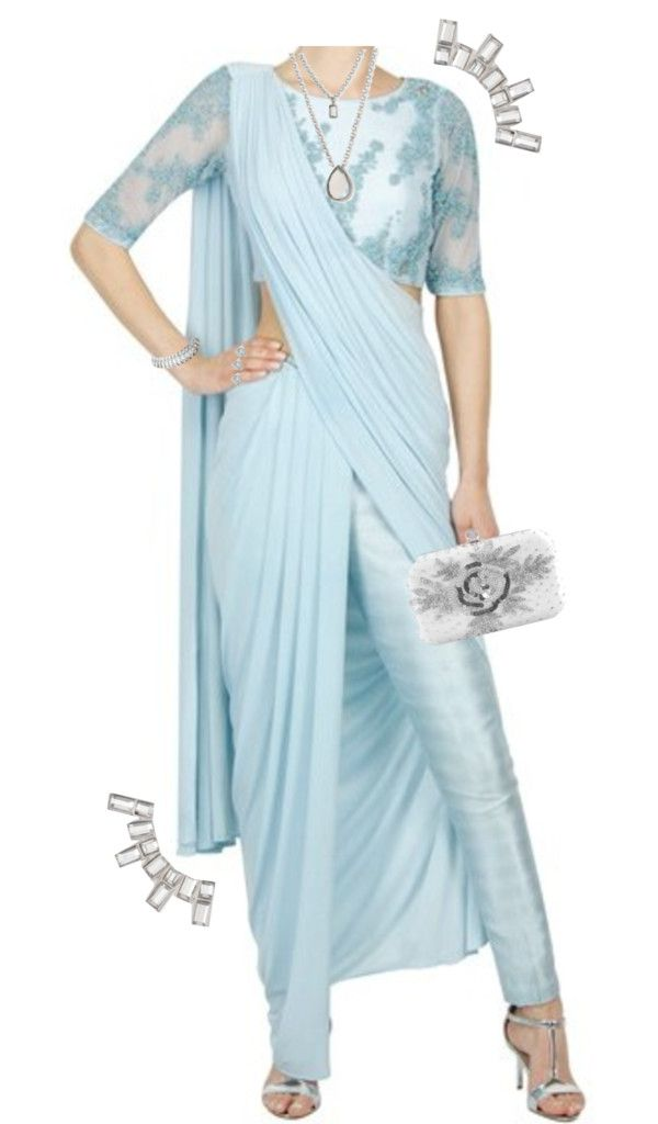 Adding another shade of blue to our repertoire is this concept saree by Bhaavya Bhatnagar. The powder blue saree comes as set of three pieces. A pair of cigarette pants in silk, jersey blouse with bead work and the pre-stitched saree. Adding the cigarette pants in silk is quite novel. Try it with your local …