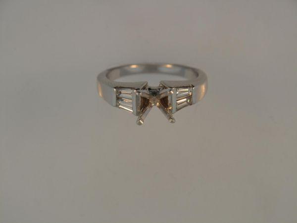 White 14 Karat Eng Ring 14Kw Ring With 4=0.50Tw Baguette I/J Vs2-Si1 Diamonds   Diamond Semi-Mount Rings from Orin Jewelers   Garden City, MI