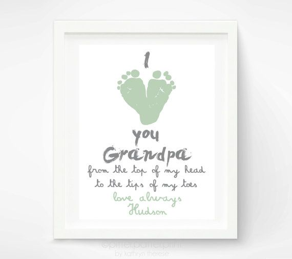 Gift for Grandpa - Personalized Fathers Day Gift for Grandfather - I Love You Grandpa Baby Footprint Art Print  - First Fathers Day via Etsy