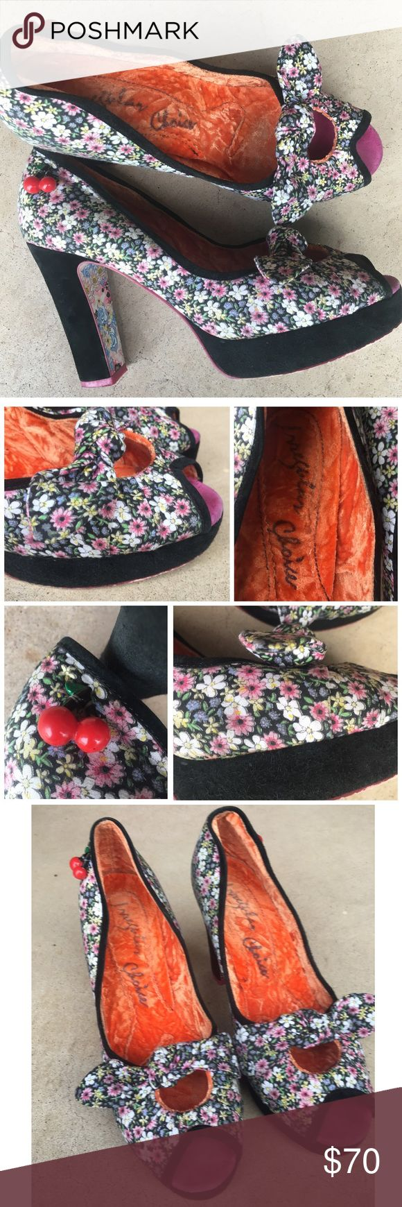 IREEGULAR CHOICE FLORAL CHERRY CHARM SHOES HEELS IREEGULAR CHOICE FLORAL CHERRY CHARM SHOES HEELS SZ 10 Irregular Choice Shoes Heels