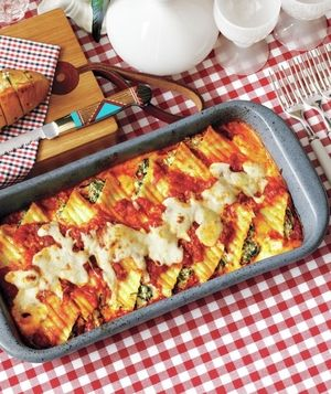 ... homemade sauce get the recipe for creamy spinach and ricotta manicotti
