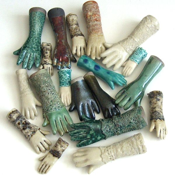 ceramic hand beads  Need these to make Frida Earrings!