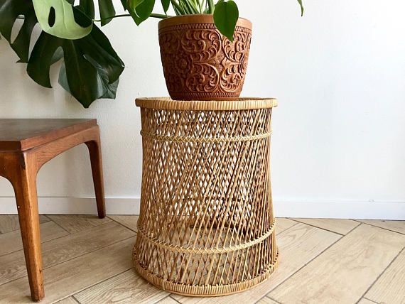 Wicker Accent Table Round Woven Rattan Side Bamboo