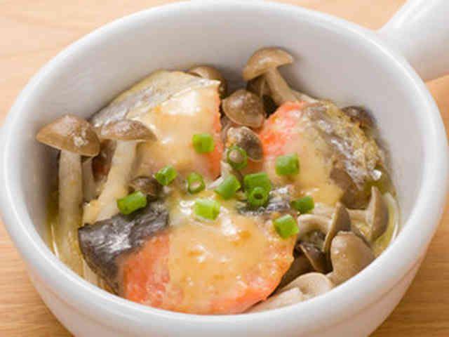 【簡単朝食】きのこと鮭のレンジ味噌マヨの画像