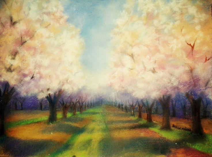 Cherry trees - Nagykörűi cseresznyés - Pasztell - 30 x 42 cm - By márta Bolla - Hungary