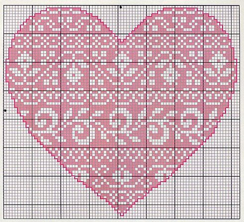 Heart, cros stitch, Coeur, Corazon, Cuore, Coração: can be used for filet crochet too
