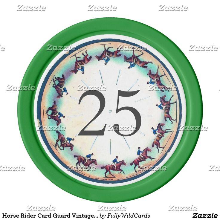 Horse Rider Card Guard Vintage Green Color 25 Poker Chip Set
