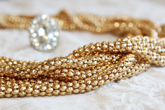 Love this gold colored statement-necklace! www.westyle.fi
