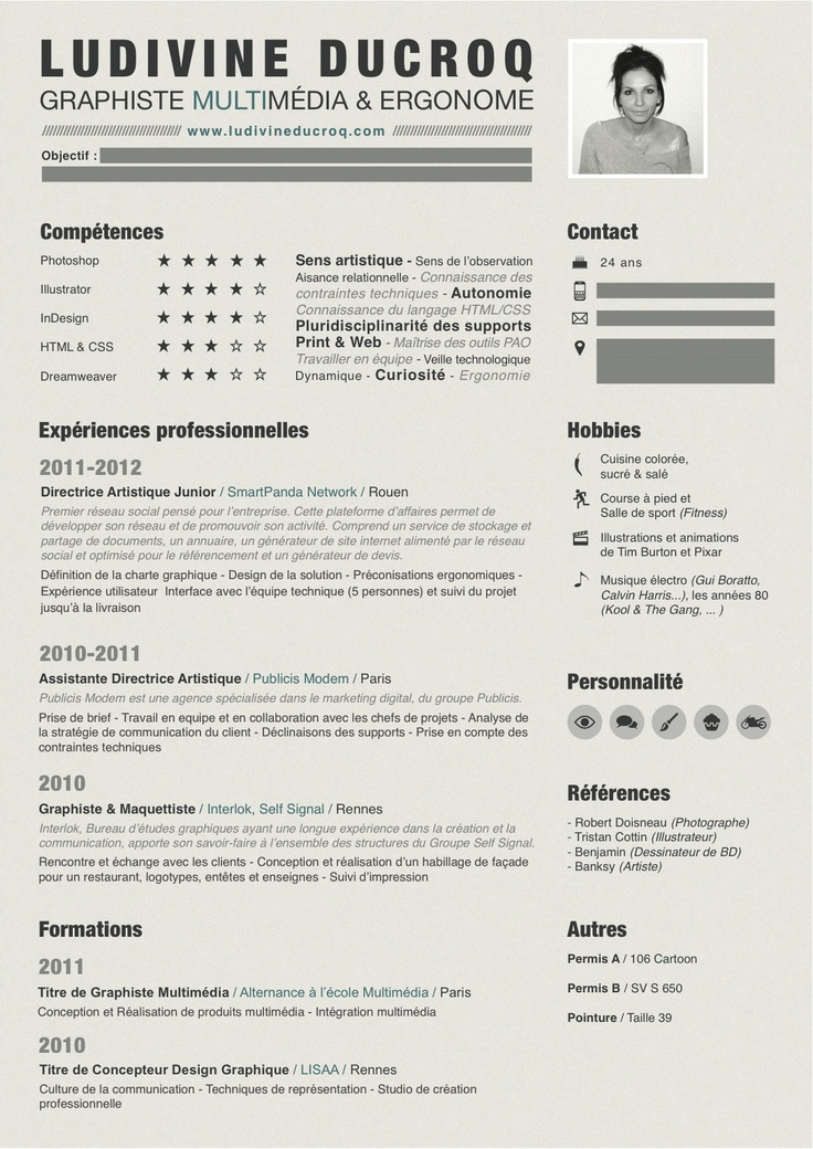 curriculum vitae graphiste multim u00e9dia - webdesigner