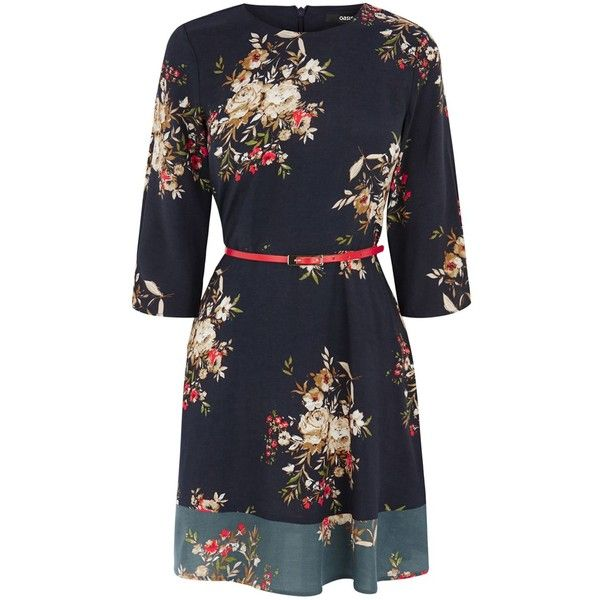 Oasis Patached Rose Dress (61 NZD) ❤ liked on Polyvore featuring dresses, clearance, navy, navy dress, shift dress, floral print dress, floral shift dress and floral day dress