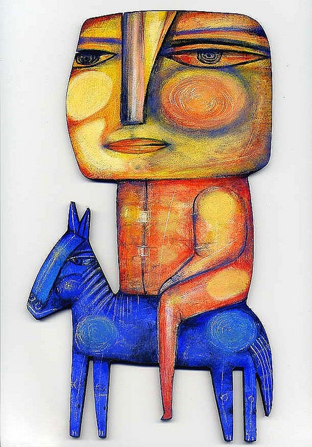 Dan Casado - THE BLUE HORSE,   Discarded wood cut-out 10 inch tall