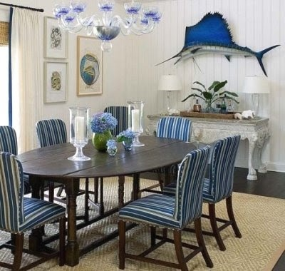Blue And White Nautical Dining Room Decor, Minus The Fish