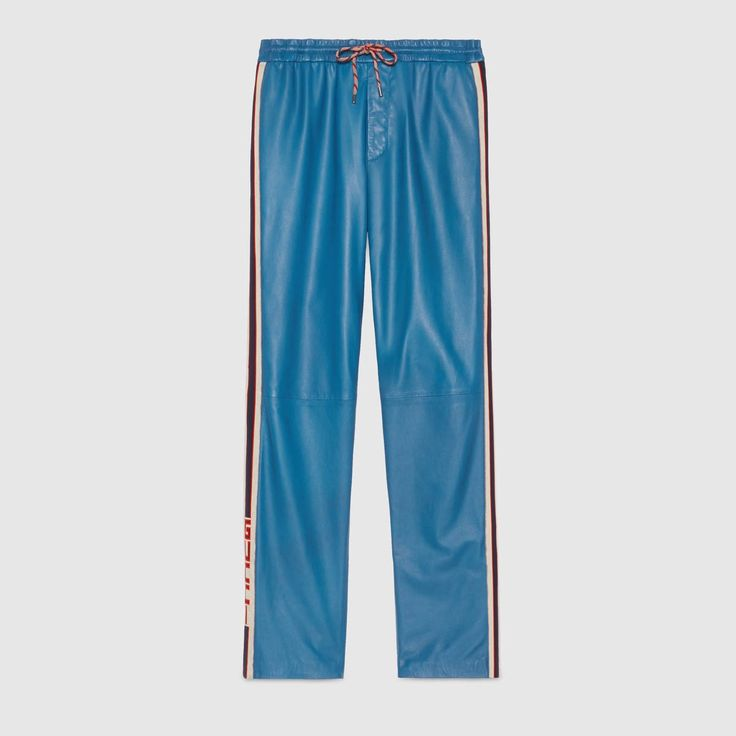 GUCCI Leather Jogging Pant - Blue Leather. #gucci #cloth #all