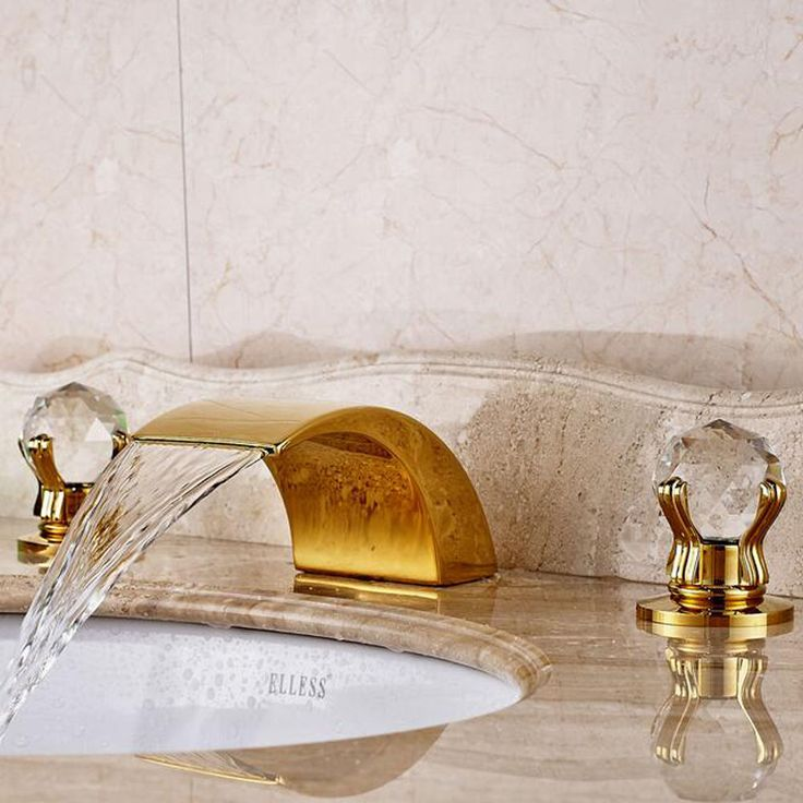 Waterfall Bathroom Basin Faucet Crystal Knobs Deck Mount Hot Cold Gold Mixer Tap #oulantron