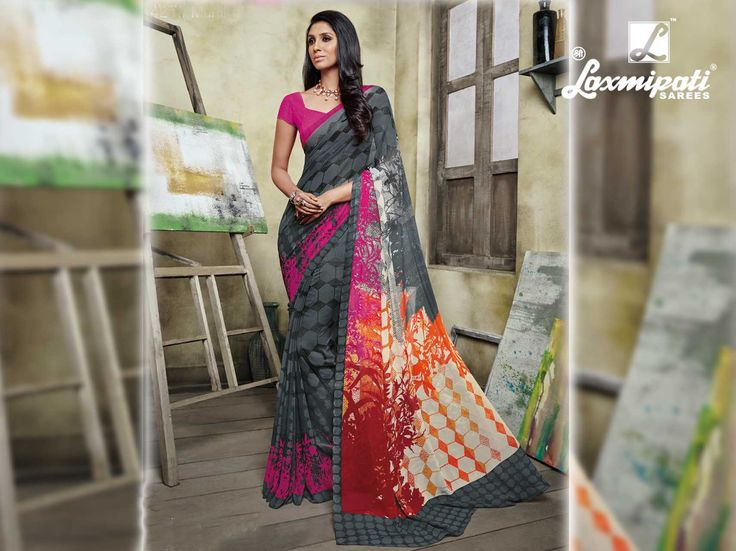 Buy this Laxmipati grey black digital printed georgette saree online from www.laxmipati.com. We deliver all over the world like USA, UK, Canada, Australia, Dubai, Malaysia, Mauritius, Pakistan, Bangladesh, Nepal, South Asia ... Ready to Ship Fashionable Georgette Saree for Women. #Catalogues #SONPARI Price - Rs.1069.00  Visit for more designs@ www.laxmipati.com #ReadyToWear #OccasionWear #Ethnicwear #FestivalSarees #Fashion#Fashionista #Couture #SONPARI0816 #LaxmipatiSaree #autumn #winter#wo