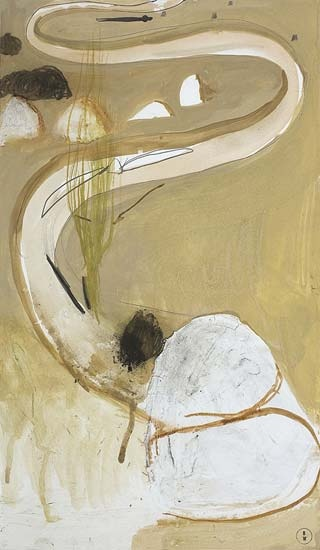 Richard Martin ART INVESTMENT - Brett Whiteley - The Fish River in Winter, 1979  Brett Whiteley  signed with monogram lower right frame: original  gouache, charcoal, pencil and plaster on card