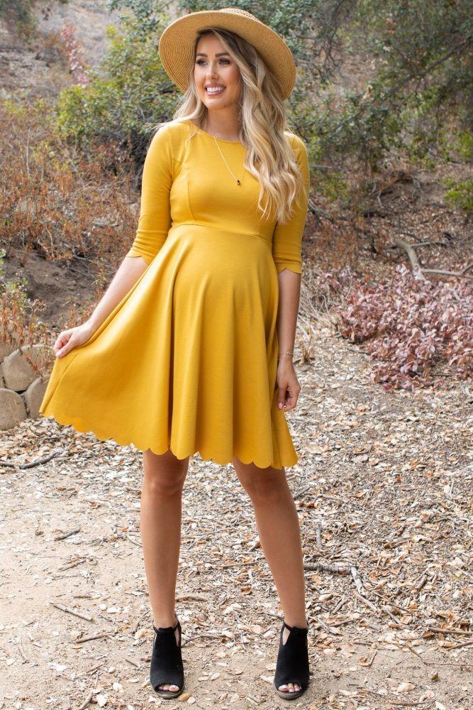 41b78d0c94 Mustard Solid Scalloped Hem Maternity Dress