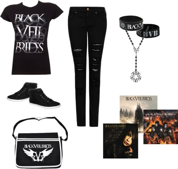 """Black Veil Brides outfit"" by breebiersack on Polyvore LOVE those jeans and that bag"