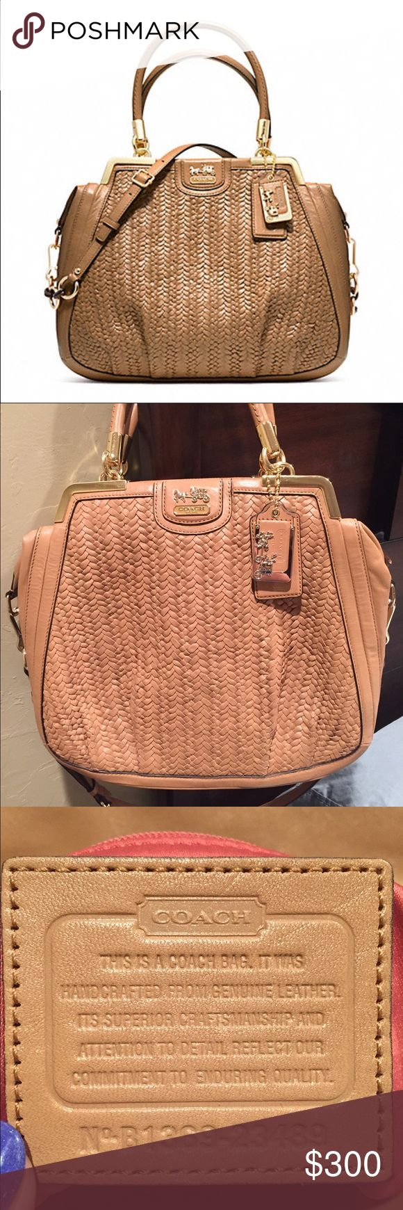 Coach Madison Pinnacle Woven Lilly Satchel This is a beautiful Coach Satchel that was only carried once or twice. This was a gift that was given to impress me, but just wasn't my style. The color is tan (Coach called it Suntan) with a dusty rose interior lining. All woven leather is intact and the interior is not stained or marked. It's in perfect condition! This bag retailed for $1,200 plus tax. Let me know if you have any questions. I'm open to offers. Thank you! Coach Bags Satchels