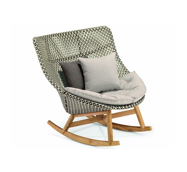 Designed by Sebastian Harkner for Dedon, Mbrace is an outdoor rocking chair with wicker frame and seat/backrest cushion fabric covered. Mbrace is a rocking chair to create a luxury garden, perfect for bringing to your garden a modern class touch. Although primarily was born to the outdoor, it can easily be brought inside to give to the room a bit of tropical air. Mbrace is also available as armchair with high or low back, depending on your preference with the possibility of matching comf...