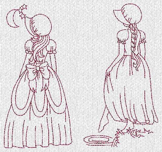 INSTANT DOWNLOAD Sunbonnet Ladies Evenings by embroiderygirl