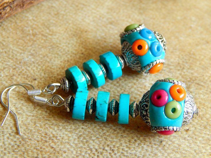 Boucles d'oreilles Argent antique et Perles d'Indonésie turquoises : Boucles d'oreille par caromoon