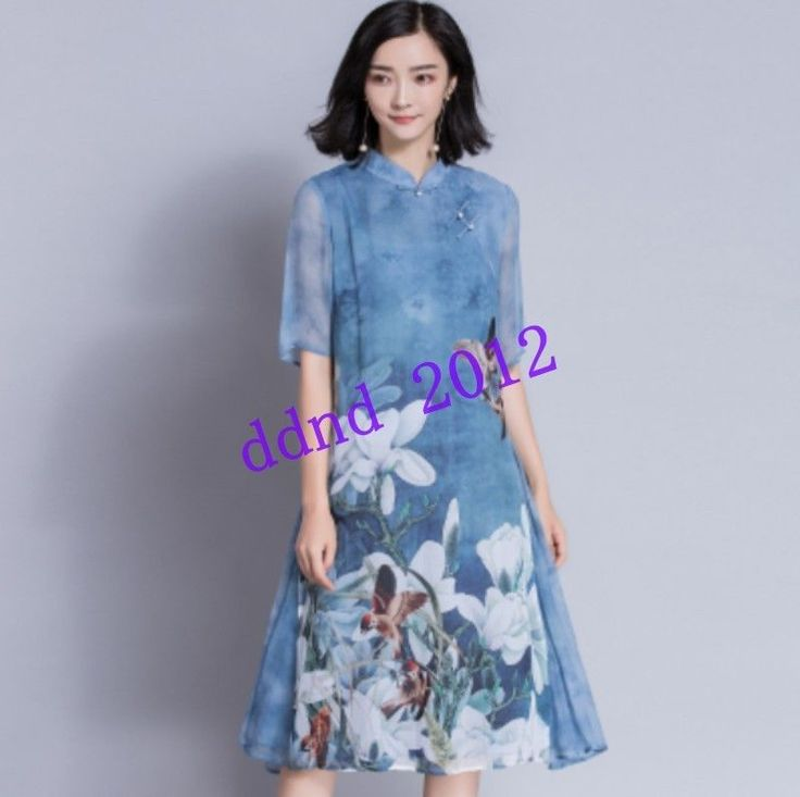 Vintage Women Summer Silk Slim Print Hlaf Sleeve Casual Long Dress Qipao Beach Y