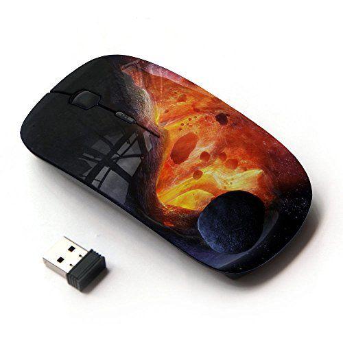 KOOLmouse [ Souris Optque Sans Fil 2.4G ] [ Asteroid Exploding Star Sun Fire Universe Art ]: Design ergonomique 3 Boutons avec molette…