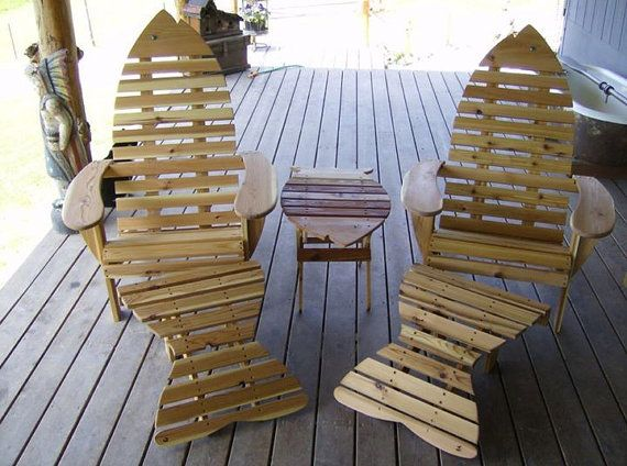 Fish shaped adirondack chair with ottoman by ConradCollectibles, $600.00