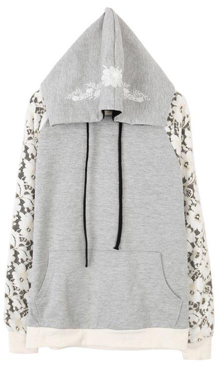 Grey Long Sleeve Contrast Lace Embroidered Sweatshirt - Sheinside.com