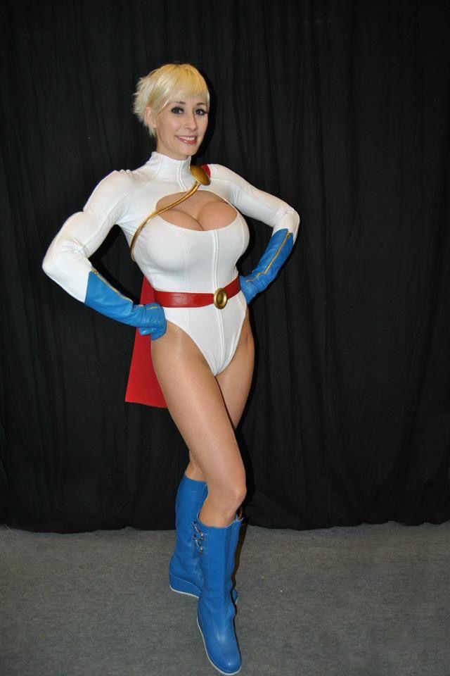 Larkin love as power girl cosplay, naked black girl in high heels