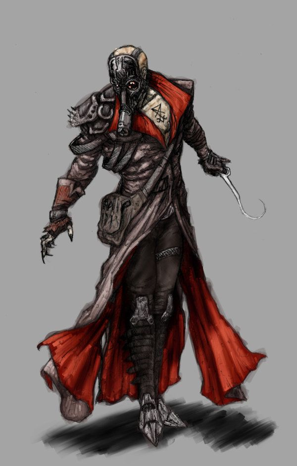 This is a character design based on a post-apocalyptic world. He's an inquisitor for the Black Queen a witch queen who rules over a large city. Not to be overly creepy but the branding on his ...