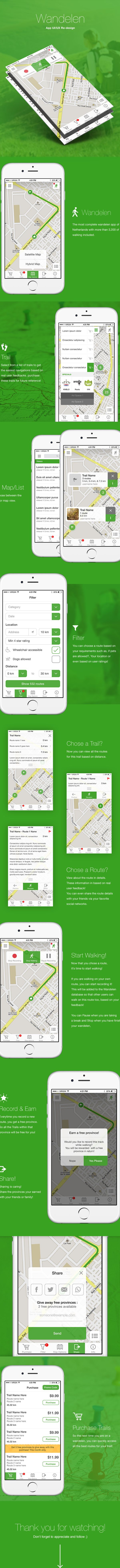 Wandelen | iPhone app UI design on Behance