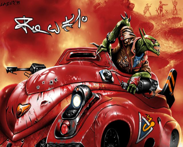 fantasy and red car - pixel art from old Amiga