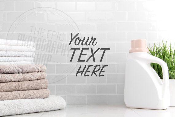 Styled Stock Photography Print Background / Product Photography / Staged Photography / Beige Towels Detergent Laundry / LR006