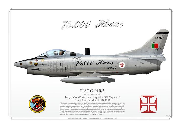 """PORTUGUESE AIR FORCE . Força Aérea PortuguesaEsquadra 301 """"Jaguares"""".Base Aérea N°6. Montijo AB. 1993""""1965 - 1993 75.000 Horas"""""""
