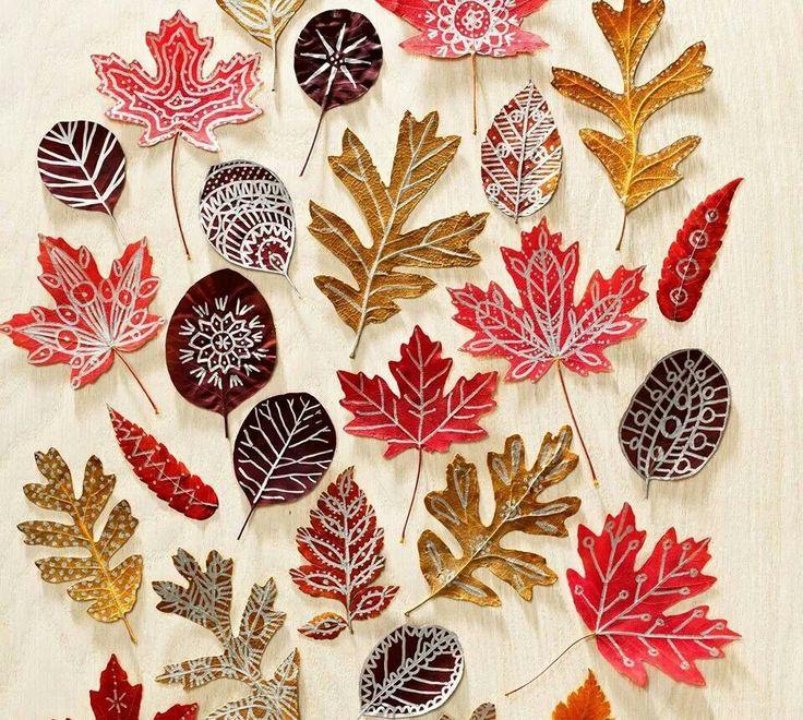 Fall leaves, a metallic Sharpie, & Mod Podge