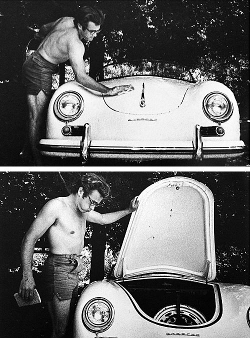 James Dean washing his Porsche Speedster, photographed by Sanford Roth.