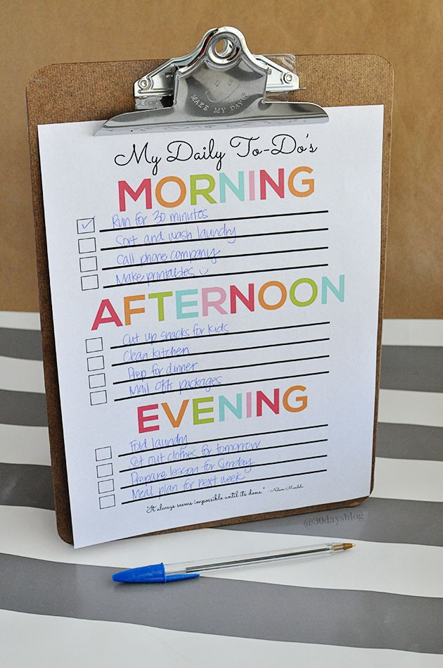 Fun & cheery daily to do checklist- print this out and get busy checking things off!