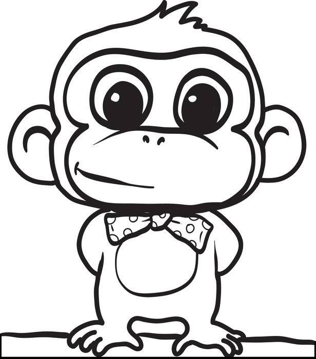 Cartoon Monkey Coloring Page #2                              …