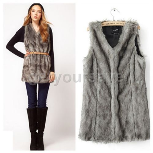 Hot Celeb Womens Fashion Long Warm Faux Fur Vest Gilet Tops Coat Waistcoat in Clothes, Shoes & Accessories | eBay