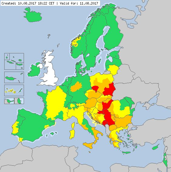 Valid for 11.08.2017 Meteoalarm - severe weather warnings for Europe - Mainpage