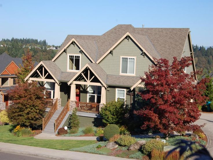 Terrific Exterior Home Colors Using Light Oak Wood Front Porch Staircase Along With Craftsman Style Home