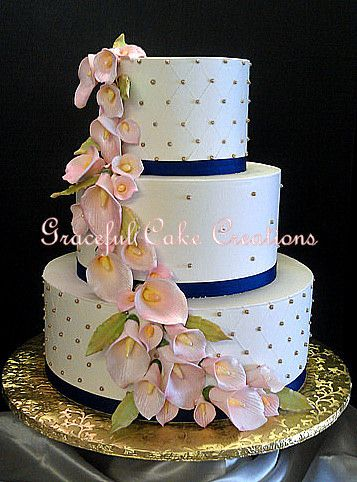 navy blue pink and gold wedding cake https flic kr p r9mkpu ivory butter 17770