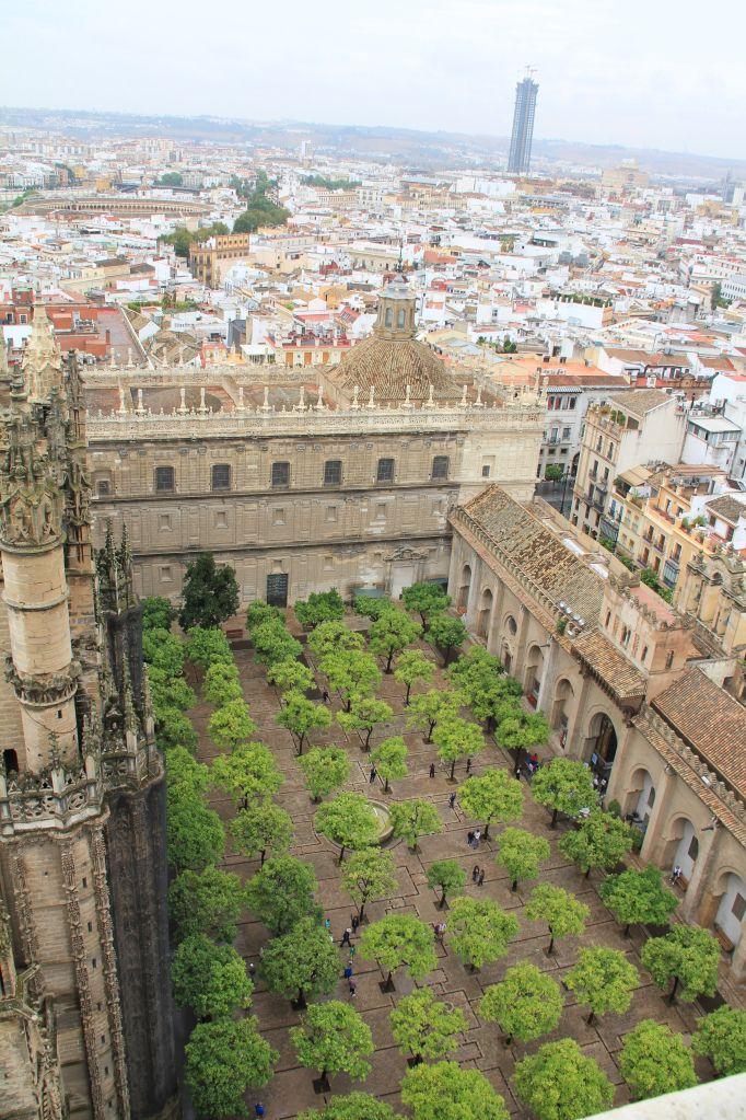 Patio de los Naranjos desde el mirador de la Giralda. Sevilla, España.