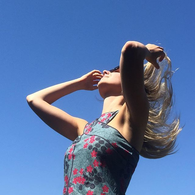 Captured in motion, this cutie rocking out Nile Top in Spiral Grey www.mahashe.com